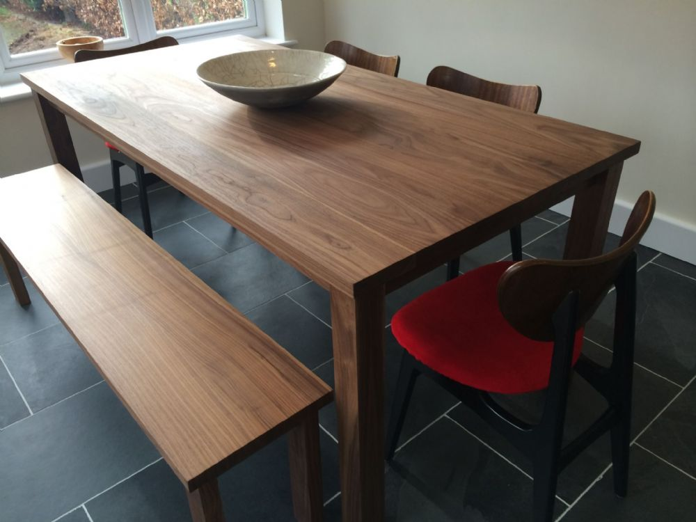 Solid American Black Walnut Dining Table and 2 Benches
